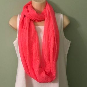 Betseyville Pink Lacy Infinity Scarf NWT